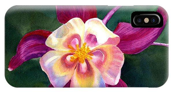 Violet iPhone Case - Red Violet Columbine Blossom Square Design by Sharon Freeman