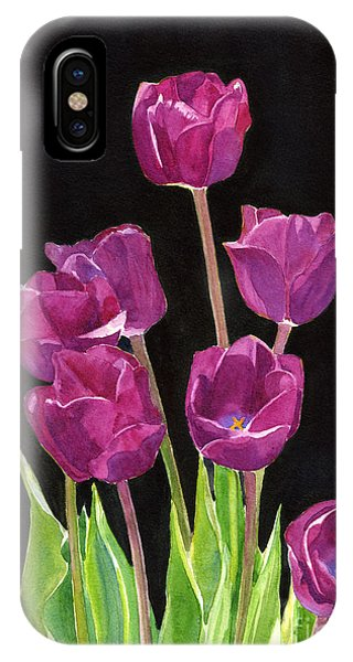 Violet iPhone Case - Red Violet Tulips With Black Background by Sharon Freeman