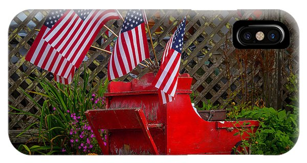 Wagon Wheel iPhone Case - Red Wagon With Flags by Garry Gay