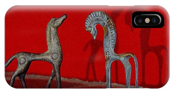 Red Wall Horse Statues IPhone Case