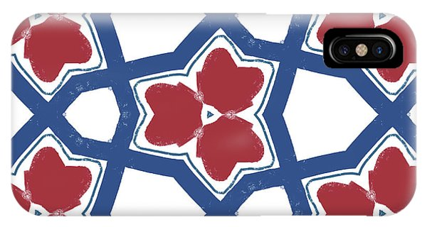 Red White And Blue Floral Motif- Art By Linda Woods IPhone Case