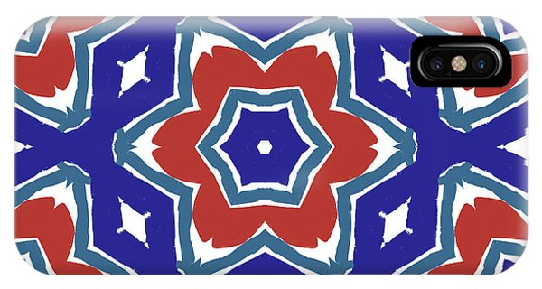 Red White And Blue Star Flowers 1- Pattern Art By Linda Woods IPhone Case