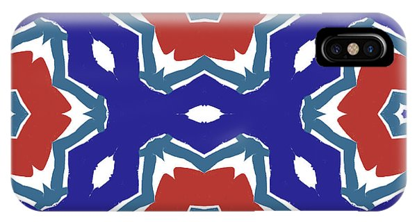 Red White And Blue Star Flowers 2 - Pattern Art By Linda Woods IPhone Case