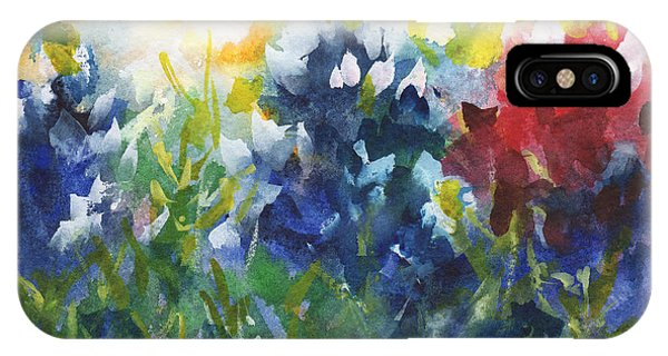 Aggie iPhone Case - Red White And Bluebonnets Watercolor Painting By Kmcelwaine by Kathleen McElwaine