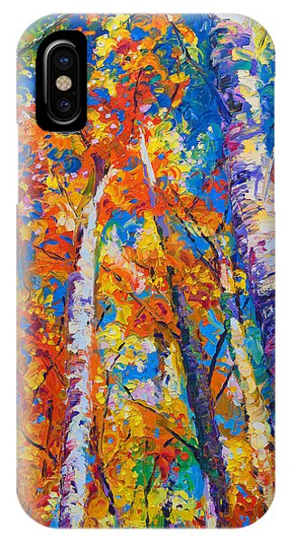 Impressionism iPhone X Case - Redemption - Fall Birch And Aspen by Talya Johnson