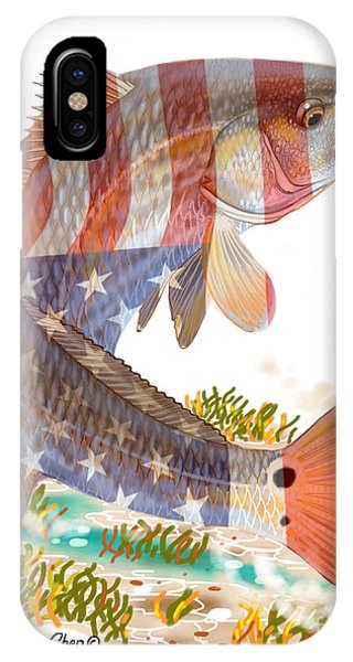 iPhone Case - Redfish, White And Blue by Carey Chen