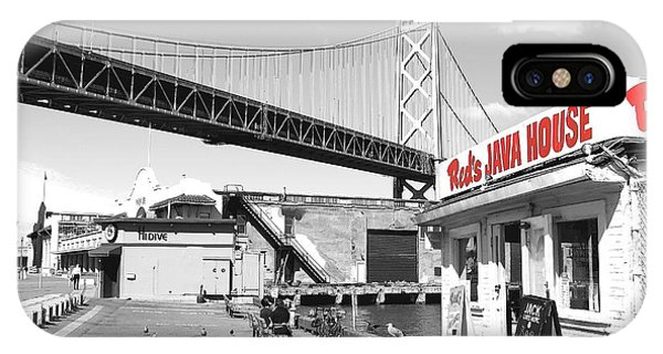 Reds Java House And The Bay Bridge In San Francisco Embarcadero . Black And White And Red IPhone Case