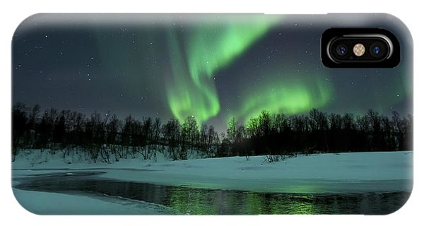 Space iPhone Case - Reflected Aurora Over A Frozen Laksa by Arild Heitmann