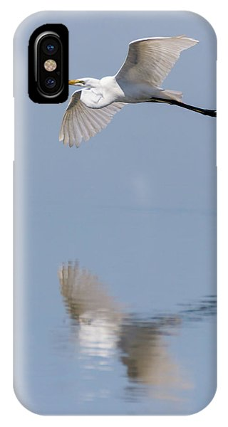 Reflected Great Egret In Flight  IPhone Case