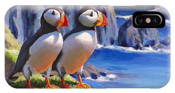 Horned Puffins - Coastal Decor - Alaska Landscape - Ocean Birds - Shorebirds IPhone Case