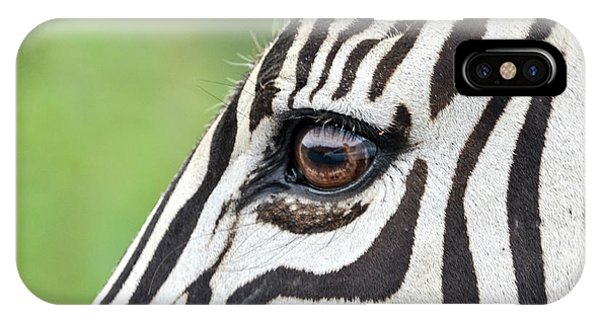 Reflection In A Zebra Eye IPhone Case