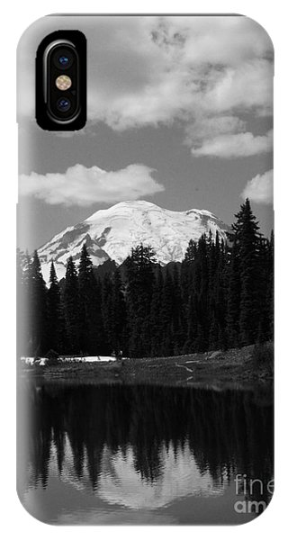 Mt. Rainier Reflection In Black And White IPhone Case