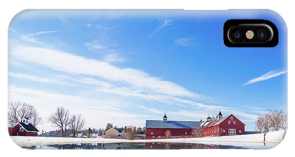 Reflection Of A Barn In Winter IPhone Case
