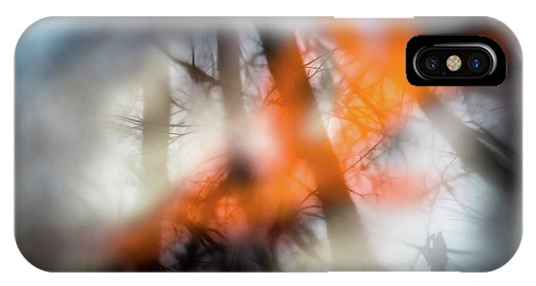 Reflection Of Trees Over An Oak Leaf Encased In Water And Ice IPhone Case