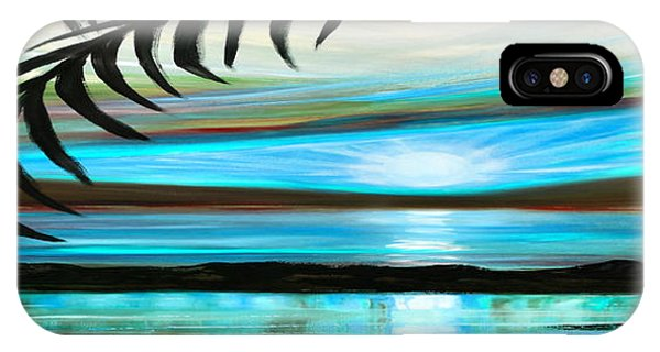 Reflections In Teal - Panoramic Sunset IPhone Case