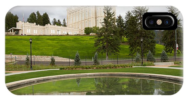 Reflections Of The Manti Temple At Pioneer Heritage Gardens IPhone Case
