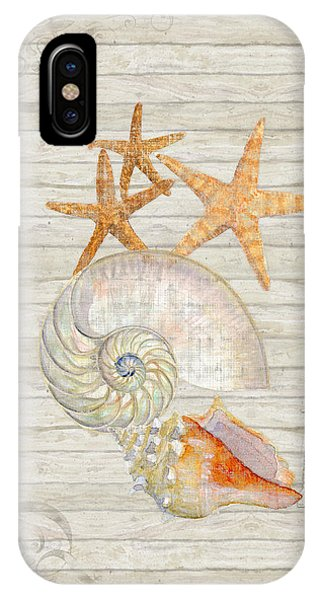 Refreshing Shores - Lighthouse Starfish Nautilus N Conch Over Driftwood Background IPhone Case