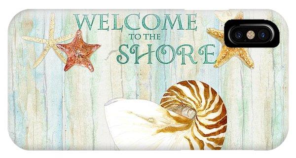 Refreshing Shores - Lighthouse Starfish Nautilus Sand Dollars Over Driftwood Background IPhone Case