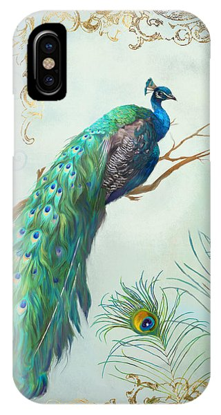Peacocks iPhone Case - Regal Peacock 1 On Tree Branch W Feathers Gold Leaf by Audrey Jeanne Roberts