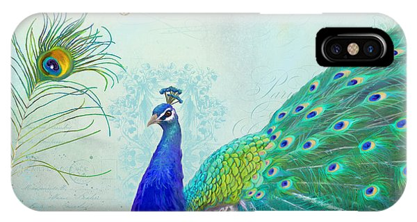 Peacocks iPhone Case - Regal Peacock 2 W Feather N Gold Leaf French Style by Audrey Jeanne Roberts