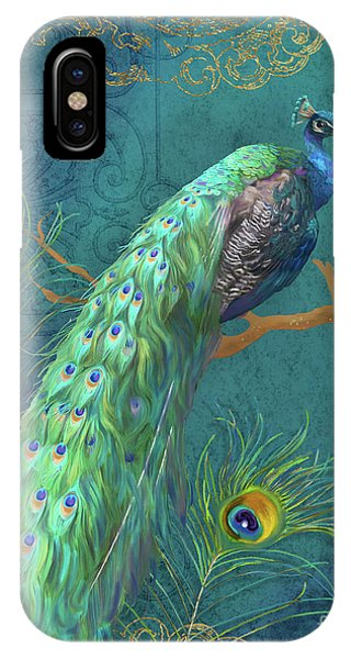 Peacock iPhone Case - Regal Peacock 3 Midnight by Audrey Jeanne Roberts