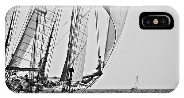 Regatta Heroes In A Calm Mediterranean Sea In Black And White IPhone Case