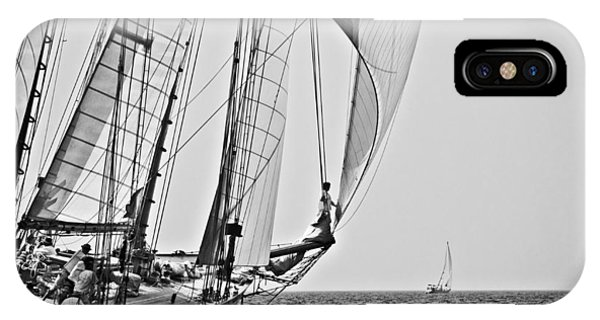 Regatta Heroes In A Calm Mediterranean Sea In Black And White IPhone Case