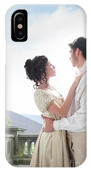 Regency Couple Embracing On The Terrace IPhone Case