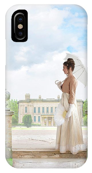 Regency Woman In The Grounds Of A Historic Mansion IPhone Case