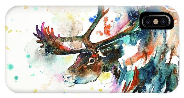 IPhone Case featuring the painting Reindeer by Zaira Dzhaubaeva