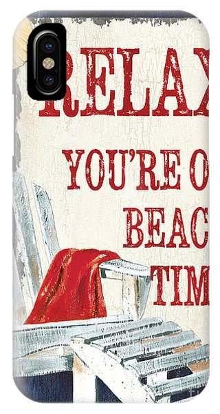Beach Chair iPhone Case - Relax You're On Beach Time by Debbie DeWitt