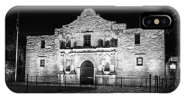 The Alamo iPhone Case - Remembering The Alamo - Black And White by Stephen Stookey