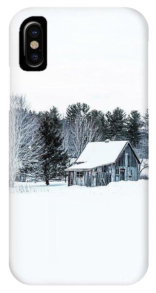 Cabin iPhone Case - Remote Cabin In Winter by Edward Fielding