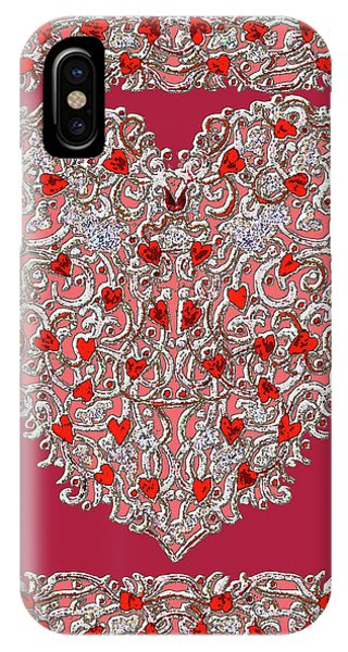 Renaissance Style Heart With Dark Red Background IPhone Case