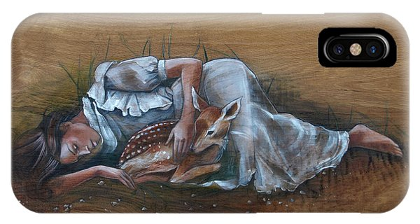 Resting Maiden With Fawn IPhone Case
