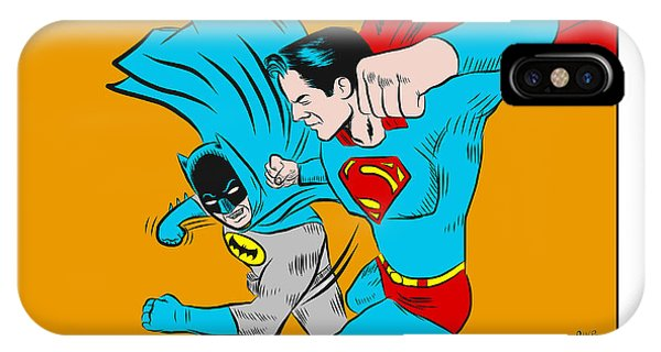 IPhone Case featuring the digital art Retro Batman V Superman by Antonio Romero