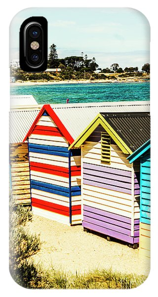 Exterior iPhone Case - Retro Beach Boxes by Jorgo Photography - Wall Art Gallery