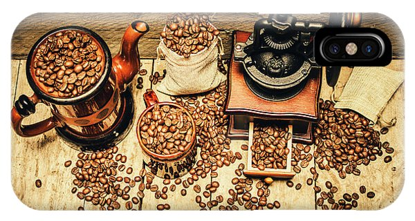 Brown iPhone Case - Retro Coffee Bean Mill by Jorgo Photography - Wall Art Gallery