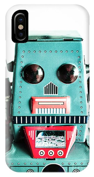 Metal iPhone Case - Retro Eighties Blue Robot by Jorgo Photography - Wall Art Gallery