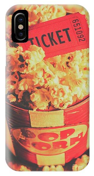 Movie iPhone Case - Retro Film Stub And Movie Popcorn by Jorgo Photography - Wall Art Gallery