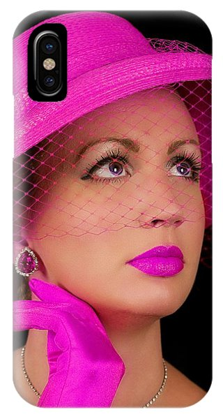 Retro Lady In Fuchsia IPhone Case