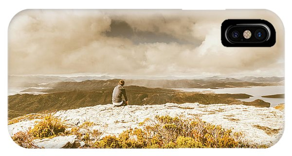 Stone Wall iPhone Case - Retro Mountaintop Views by Jorgo Photography - Wall Art Gallery