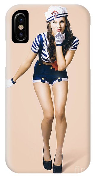 Departure iPhone Case - Retro Pinup Girl Blowing Travelling Departure Kiss by Jorgo Photography - Wall Art Gallery