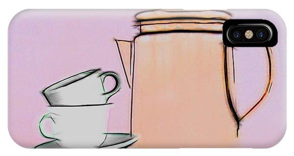 Saucer iPhone Case - Retro Style Coffee Illustration by Tom Mc Nemar