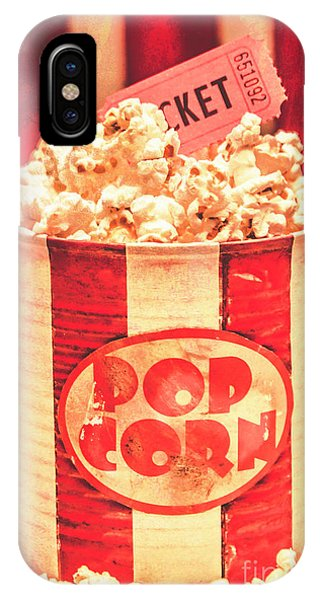 Cinema iPhone Case - Retro Tub Of Butter Popcorn And Ticket Stub by Jorgo Photography - Wall Art Gallery