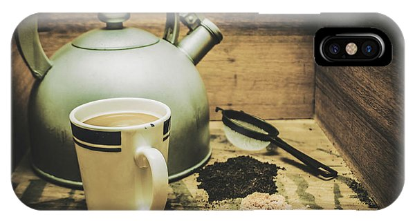 Kettles iPhone Case - Retro Vintage Toned Tea Still Life In Crate by Jorgo Photography - Wall Art Gallery