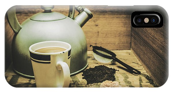 Retro Vintage Toned Tea Still Life In Crate IPhone Case