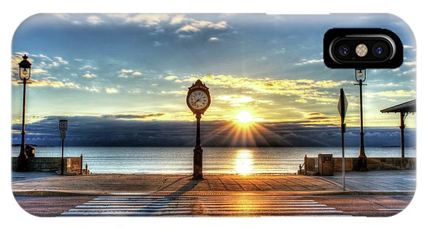 Revere Beach Clock At Sunrise Angled Long Shadow Revere Ma IPhone Case