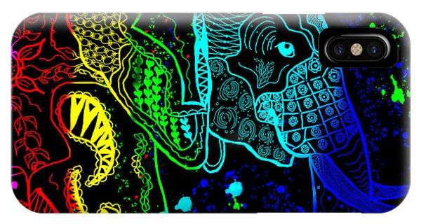 Rainbow Zentangle Elephant With Black Background IPhone Case