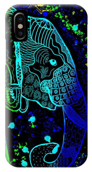 Rainbow Zentangle Elephant With Black Background IPhone Case